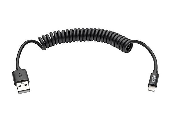 4ft Lightning Coiled CHarge Cable Black