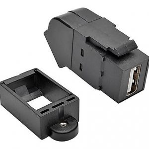 USB Panel Mount Coupler Angled Black F/F